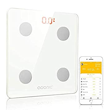 Adoric Bluetooth Body Fat Scale Smart Digital Scale with Free APP for  Android and iOS, Tempered Glass