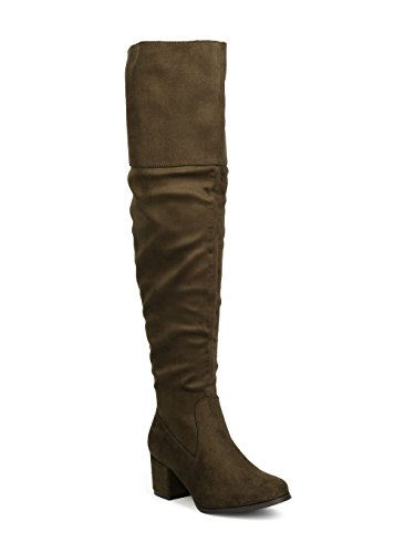 REFRESH Women Faux Suede Over The Knee Chunky Heel Boot GJ33