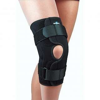 FLA Orthopedics FL37-350LGBLK SAFE-T-SPORT Wrap-Around Hinged Knee Brace - Size- Large