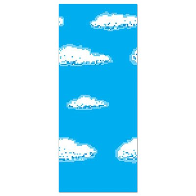 Beistle 8-Bit Backdrop, 4 by 30-Feet, Blue/White -
