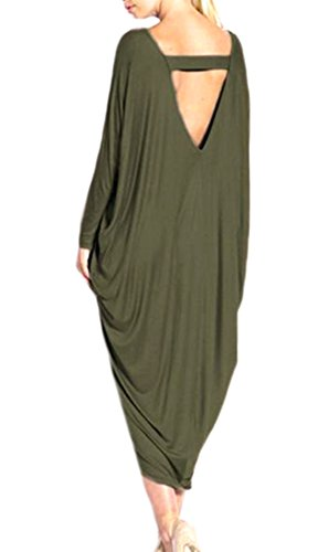 Dress s Size Plus Women Irregular Green Solid Raglan Cruiize Backless Army Sleeve zBp6gq