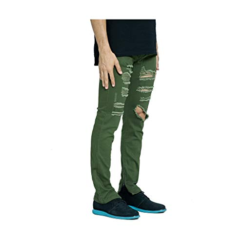 Olive Ripped Side Ankle Zipper Men Jeans Army Green Distressed Destroyed Hip Hop Urban Skinny Stretch Jeans ()