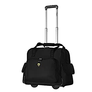 Olympia Deluxe Fashion Rolling Overnighter (Black)