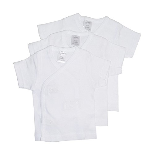 Bambini Baby 3-Pack Side Snap Short Sleeve T shirts - White (small 14-18 Ibs) Short Sleeve Side Snap Shirt