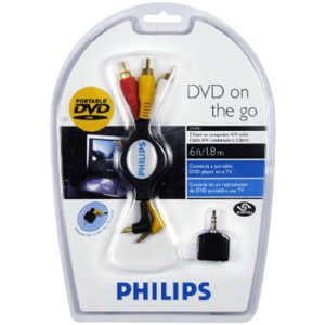 6' Retractable Av Cable - Philips USA 6' Retractable 3.5mm Composite AV Cable With Adapter