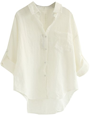 Minibee Women's Linen Blouse High Low Shirt Roll-Up Sleeve Tops White L