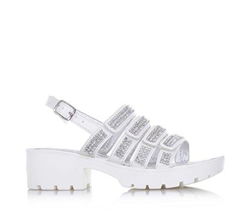 LELLI KELLY - Sandalia blanca de cuero, del diseño atractivo, con aplicaciones de strass en la banda anterior, Niña, Niñas blanco