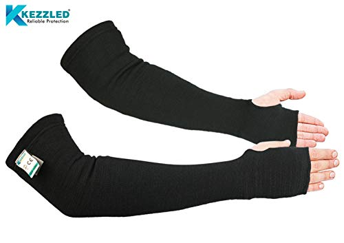 Kevlar Arm Sleeves Cut/Heat/Scratch/Knife Resistant 18 Inches Long Elbow Safety wih Thumb Holes Welding/Gardening/Cooking Flexible, Lightweight, Washable, Reusable Pair