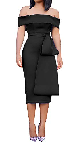 (Womens Sexy Elegant Off Shoulder Ruffle Bodycon Fitted Dress Peplum Zipper Back Knee Length Cocktail Evening Party Club Pencil Bodycon Midi Dresses Clubwear Black, Medium)