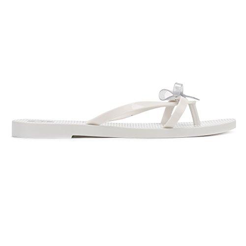 Zaxy Femmes Blanc Glitter Fresh Bow Tongs