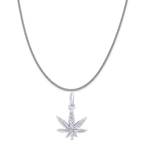 Rembrandt Charms Sterling Silver Marijuana Leaf Charm on a Sterling Silver Curb Chain Necklace, 18