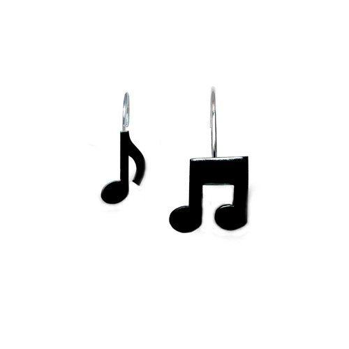 Music Treasures Musical Black Note Shower Curtain Hooks by Music Treasures Co.