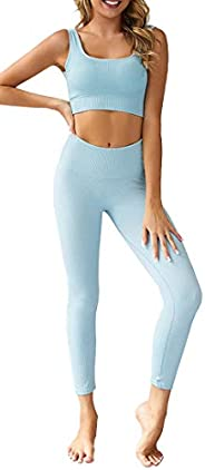 OLCHEE Women's 2 Piece Tracksuit Workout Outfits - Seamless High Waist Leggings and Stretch Sports Bra Yog
