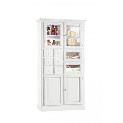 CLASSICO mobile dispensa Shabby Chic bianco per cucina con cassetti ...