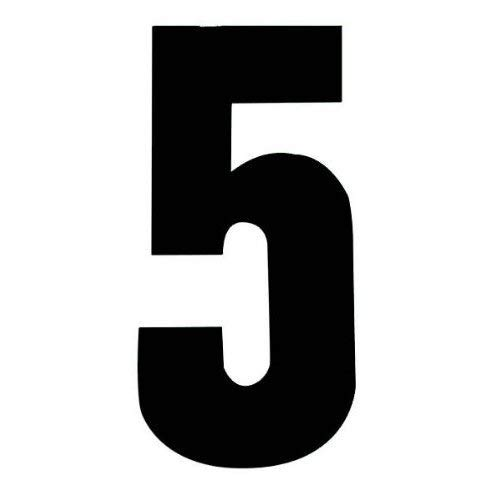 Set of 4 - Black Wheelie Bin Number 5 - Removable Self Adhesive Waterproof Durable Vinyl Stickers - Digitally Cut to the sticker Shape - size 170mm party-decor