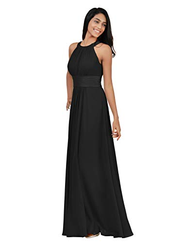 Alicepub Chiffon Plus Size Bridesmaid Dresses Long for Women Formal Evening Party Prom Gown Halter, Black, US18 from Alicepub