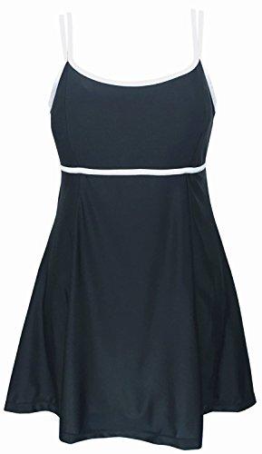 DANIFY Women's Plus Size Swimdress One Piece Cover Up Tankini Bathing Suits,Black-White,US18/IT52