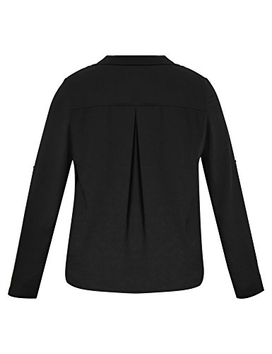 LookbookStore Women's Plus Size Black Casual Zipper Asymmetric Blazer Jacket 3X