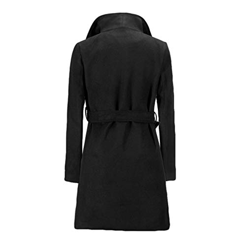 Moda Tie Coat Slim Ladies Big Pocket Cotton Da Giacche Fangcheng Collar Solid Blend Belt Elegant Blends Donna Streetwear Bow Nero W8v4qPRa