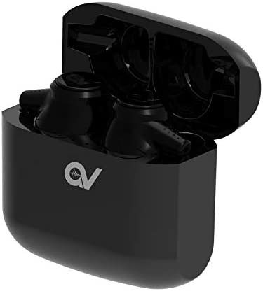 True Wireless Earbuds, Bluetooth Earphones Stereo Sound Bass Earpiece Headset Sport Running Waterproof Headphones with Charging Case (Gvoice-Black)