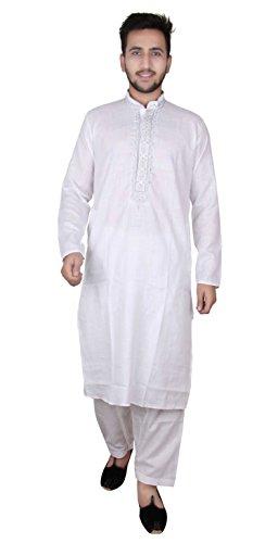 Men's white Indian Sherwani Cotton kurta with Salwar kameez for Bollywood party & EID outfit -820 (40 (L - UK), - Pakistani Pictures Men