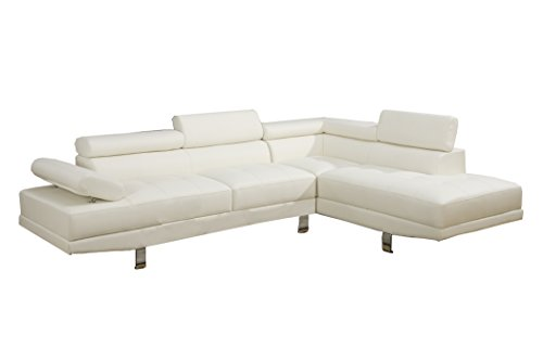Poundex 2 Pieces Faux Leather Sectional Right Chaise Sofa, White (2 Piece Modern Sectional)