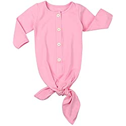 Baby Gown Newborn Nightgown Long Sleeve Stripe Baby Sleeping Bags Baby Boy Girl Coming Home Outfits Set Pink