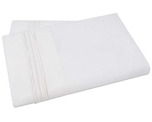 Mezzati Luxury Two Pillow Cases - Soft and Comfortable 1800 Prestige Collection - Brushed Microfiber Bedding (White, Set of 2 King Size Pillow Cases)