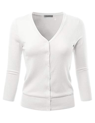EIMIN Women's 3/4 Sleeve V-Neck Button Down Stretch Knit Cardigan Sweater White M
