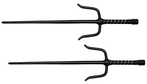 New Shadow Ninja Octagon Okinawan Sai Set of 2 Black + Includes a Free Zombie-Hunter Survival Pocket -