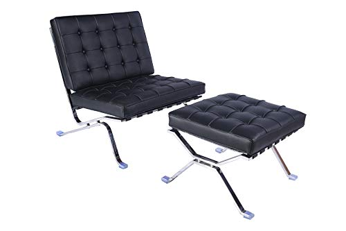 lazyBuddy Mid Century Modern Classic Pavilion Style Replica Lounge Chair & Ottoman with Premium Black Real Leather and Stainless Steel Frame