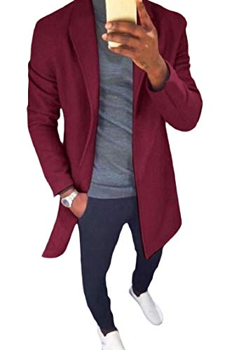 Fitted Down Jackets Solid Cardigan Wine Energy Coat Long Turn Red Collar Md Mens tBxOqAp
