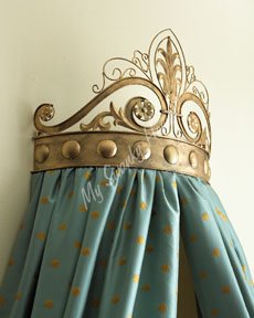 Baroque Ornate Scroll Gold Bed Crown | Baroque Metal Iron - Antique Italian Tole