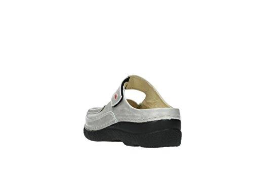 Muli Donna Luccicante 0622712070-roll-slipper Nero 464908 919 Pelle Bianca Metallizzata Perla
