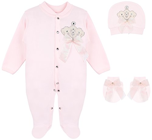 (Lilax Baby Girl Jewels Crown Layette 3 Piece Gift Set 0-3 Months Pink Crown )