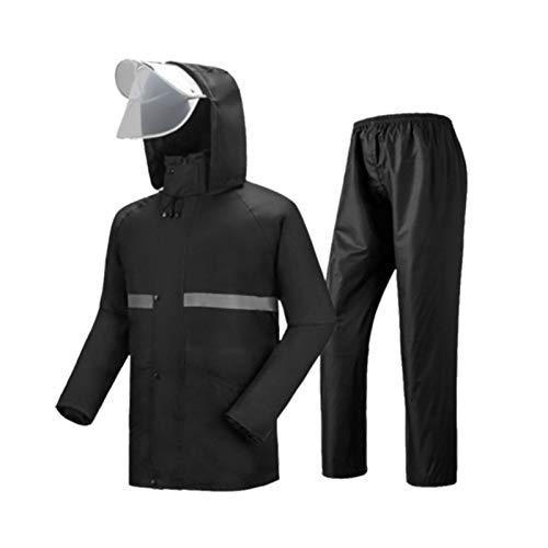 Noir petit JTWJ Imperméable imperméable Costume de Pluie imperméable Scission imperméable pour Les Hommes et Les Femmes (Bleu Noir Vert Fluorescent Rouge Classique)