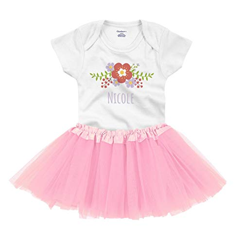 Baby Nicole Floral Outfit: Infant Gerber Onesie with Tutu White/Pink