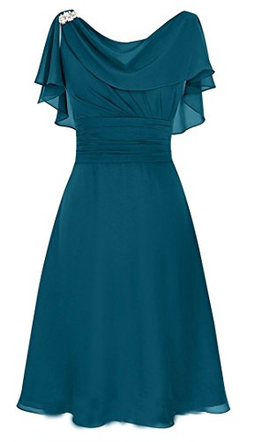 MenaliaDress Women's Chiffon Short Gown Neck Mother Of Bride Dress Prom Gown M086LF Teal Green US14