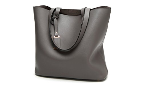 Women's Handbags Leather Shoulder Bag Big Bag Tote Bag Hobo Shoulder Bag Suo Model (black) Gray