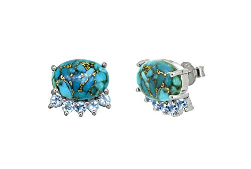 YoTreasure Blue Turquoise Solid 925 Sterling Silver Cluster Stud ()