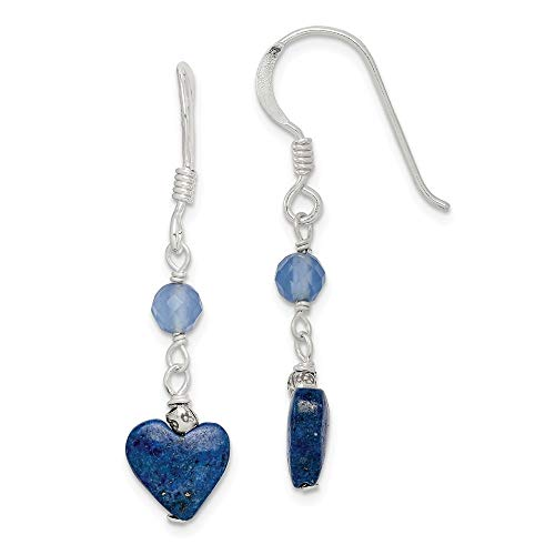 (925 Sterling Silver Lapis/blue Agate Drop Dangle Chandelier Earrings Fine Jewelry Gifts For Women For Her)