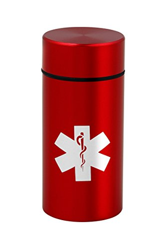Stash Jar - Smell Proof Discreet Aluminum Storage Container with Airtight Seal (Ruby Red W/Medical Emblem) (Holder Tobacco)