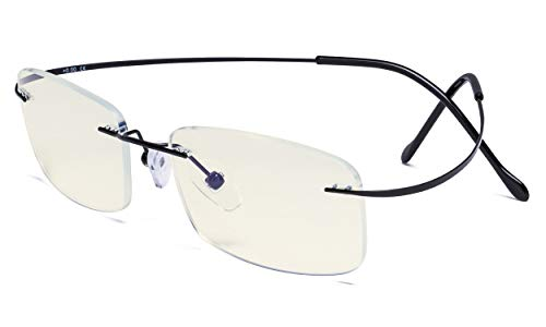 Eyekepper Blue Light Filter Reading Glasses Women Men - UV Protection Titanium Rimless Computer Readers - Black +2.50