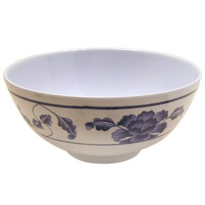Thunder Group Blue Dragon Collection 12-Pack 12-Ounce Rice Bowl, 4-7/8-Inch, Melamine, White