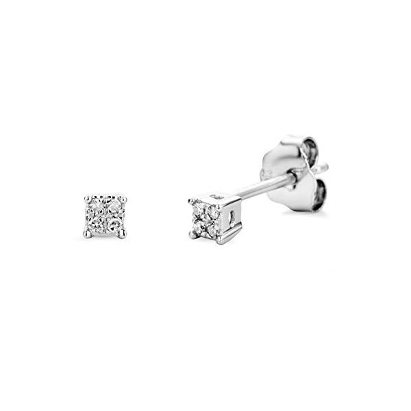 Miore – Pendientes de oro blanco de 9 quilates con diamante (.03) Miore – Pendientes de oro blanco de 9 quilates con diamante (.03) Miore – Pendientes de oro blanco de 9 quilates con diamante (.03)