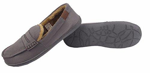 Mens Fleece Lined Moccasin Warm Winter Slip On Slippers Shoe Size 7 8 9 10 11 12 Grey 8XlhTk05M