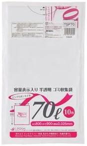 (まとめ) ジャパックス 容量表示入りゴミ袋 ピンクリボンモデル 乳白半透明 70L TSP70 1パック(10枚) 【×50セット】