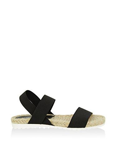 Liberitae - Sandalia plana confeccionada en textil. Mujer. Negro