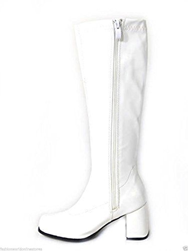 Glamorous Fashion New Ladies Womens Fancy Dress Party Go Go Boots 1960s & 1970s Retro White -