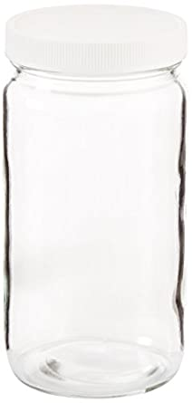 JG Finneran 9-192 Clear Borosilicate Glass Standard Tall Straight Sided  Wide Mouth Jar with White Polypropylene Closure and 0 015